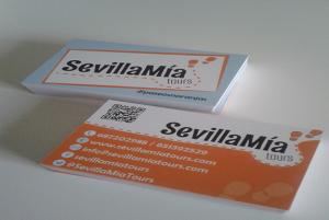 Diseño de tarjetas de visita para SevillaMia Tours