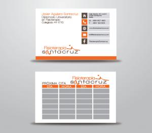 Diseño y producción de tarjetas de visita para Fisioterapia Santacruz
