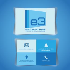 Diseño y producción de tarjetas de visita para E3 Windows System