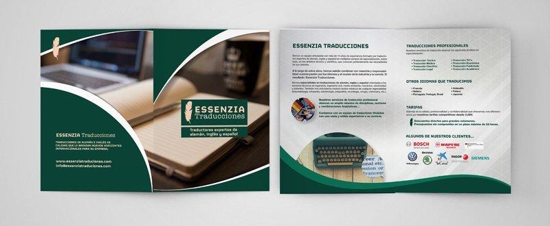 Diseño Folleto Traducciones Essenzia